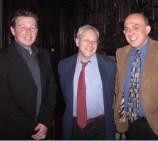 Russell with England cricketer Robert Croft and Matthew Engel Consultant Editor, Financial Times